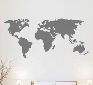 wereldkaart op muur muursticker krijt